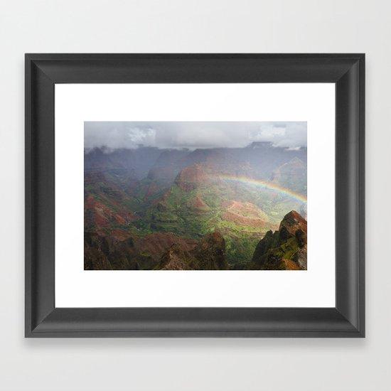 Waimea Canyon Rainbow Framed Art Print