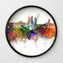 Sucre skyline in watercolor background Wall Clock