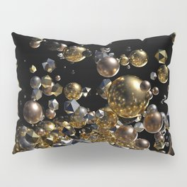 Elegant Abstract Geometry Explosion -Gold and Silver,Black- Pillow Sham