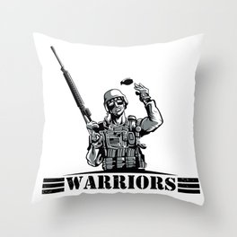 Soldier with rifle and grenade  Throw Pillow