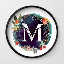 Personalized Monogram Initial Letter M Floral Wreath Artwork Wall Clock