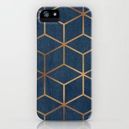 Dark Blue and Gold - Geometric Textured Cube Design iPhone Case