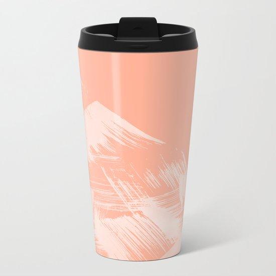 Sweet Life Paint Swipes Peach Coral Pink Metal Travel Mug