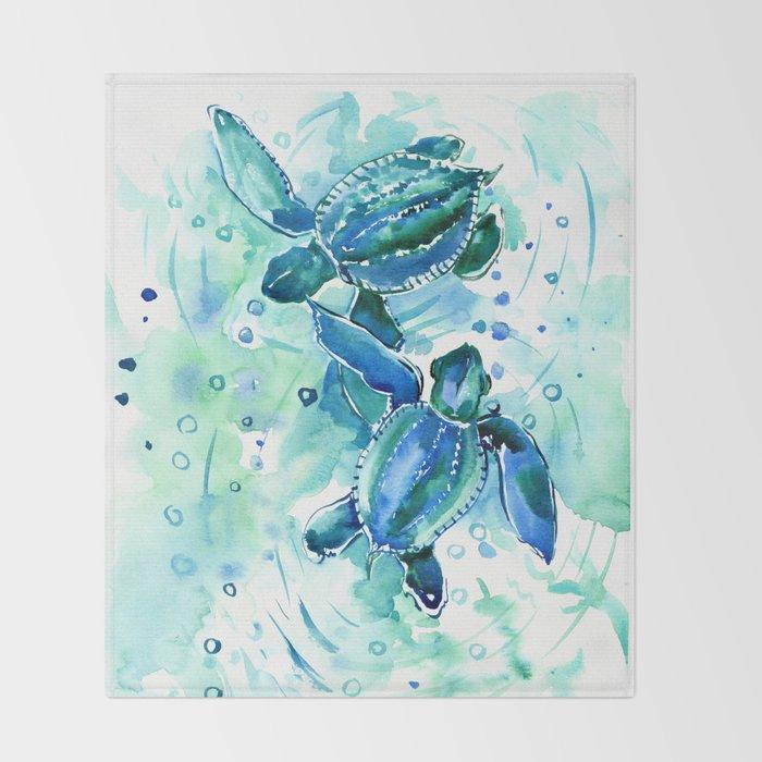 Turquoise Blue Sea Turtles in Ocean Throw Blanket