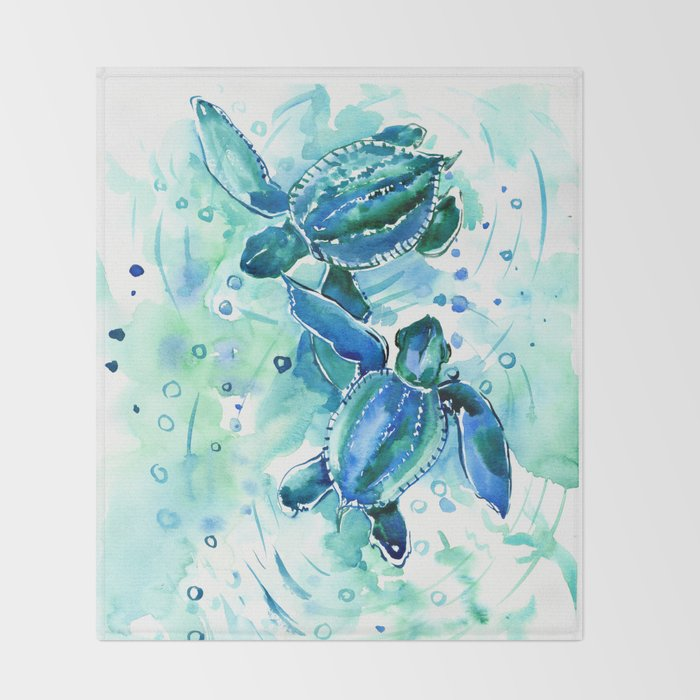 Turquoise Blue Sea Turtles in Ocean Decke