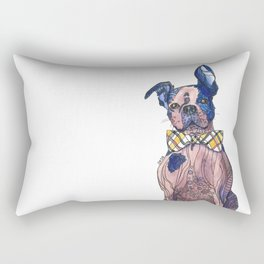 Bulldog in a bowtie, ink and watercolors Rectangular Pillow