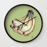 banana Wall Clocks featuring Banana by Ursula Rodgers