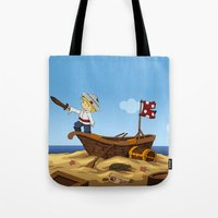 pirate ship Tote Bags featuring Pirate by TubaTOPAL