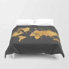Gold World Map Duvet Cover