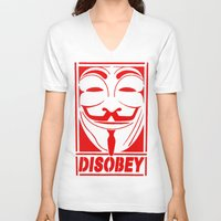 grafitti V-neck T-shirts featuring DISOBEY, OBEY, SUPREME, GRAFITTI MENS, TSHIRT T SHIRTS, VANDETTA, FAWKS by arul85
