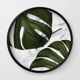 Marble Monstera Wall Clock