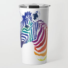 Rainbow Zebra Colorful Animals Whimsical Art Travel Mug