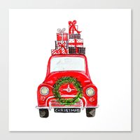 craftberrybush Canvas Prints featuring Red Christmas Car - white  by craftberrybush