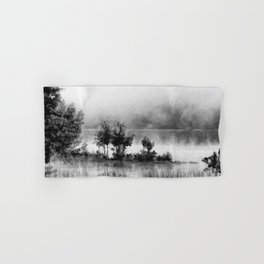 Watercolor Landscape on Water (Black and White) Hand & Bath Towel