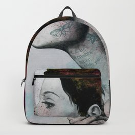 Moral Red Eclipse (colorful hair woman with moths tattoos) Backpack