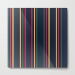 Classic Resort Stripes Vertical Green, Blue, Yellow and Red  Metal Print