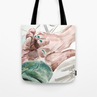 lebowski Tote Bags featuring Bunny Lebowski by Gregory Nordquist