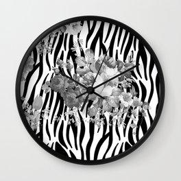 Vintage elegant black white floral zebra animal print collage Wall Clock