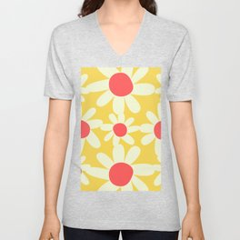 Yellow, Coral, and White Floral Pattern Design by Christie Olstad Unisex V-Neck