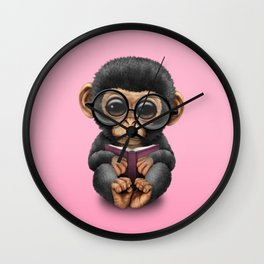 Cute Pink Baby Chimp Reading a Book Wall Clock