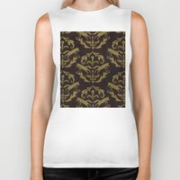 damask Biker Tanks featuring Fox Damask by Azure Cricket