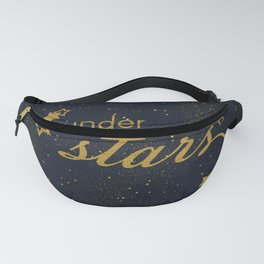 Under the stars- sparkling gold glitter night typography Fanny Pack