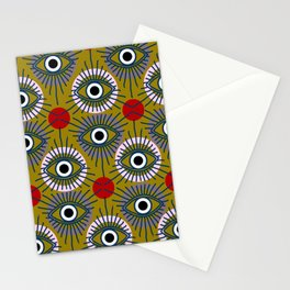 All Seeing Eye Pattern in Olive Stationery Cards