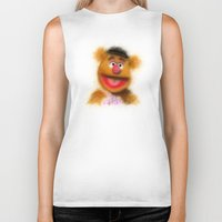 muppets Biker Tanks featuring Fozzie, The Muppets by KitschyPopShop