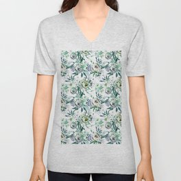 Country white green rustic watercolor floral Unisex V-Neck