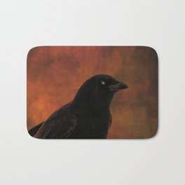 Crow Portrait In Black And Orange Bath Mat