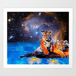 Tapestries,tapestries on walls,tapestries wall,tiger cubs,baby tiger,galaxy,cute baby tiger Art Print