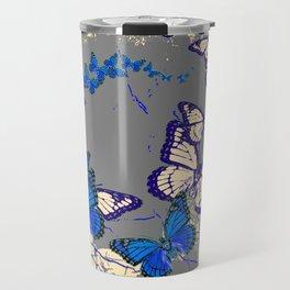 Blue Butterflies Blue & Purple Grey Pattern Abstract Travel Mug