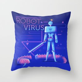 :::Robot Virus::: Throw Pillow