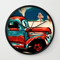 truck Wall Clocks featuring Truck  by Relic X