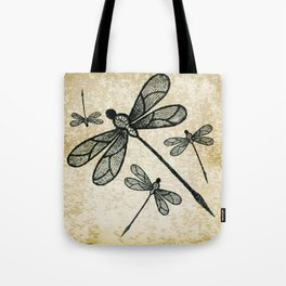 Dragonflies on tan texture Tote Bag