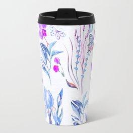Modern purple blue watercolor hand painted orquid butterfly Travel Mug