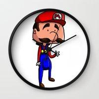 super mario Wall Clocks featuring Mario - Super Mario Bros by Dorian Vincenot