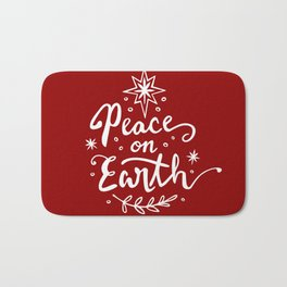 Peace On Earth - White on Red Bath Mat