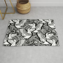Stylish Swans in Monochrome Black and White Rug