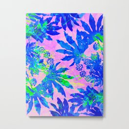 Tropical Adventure - Neon Blue, Pink and Green #tropical #homedecor Metal Print