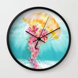Jellyfish with Flowers Wall Clock