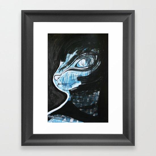 Cat Blue Framed Art Print