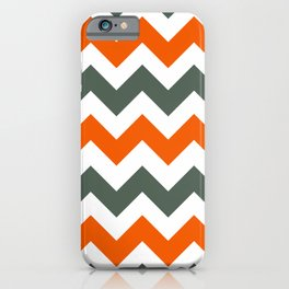 Chevron Pattern In Russet Orange Grey and White iPhone Case