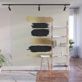 Brush Strokes (Black/Gold) Wall Mural