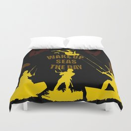 Wake Up Seas The Day Kiteboarder Brown and Yellow Duvet Cover