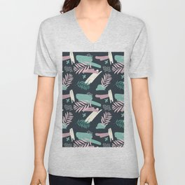 Abstract blue pink white teal brushstrokes floral Unisex V-Neck