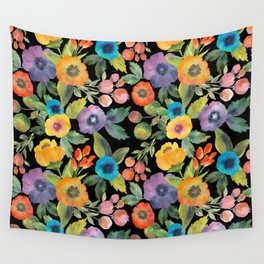 Poppies on Black Wall Tapestry