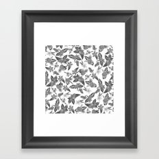 Tropical black white watercolor pineapple floral Framed Art Print