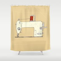 sewing Shower Curtains featuring Sewing machine by taichi_k