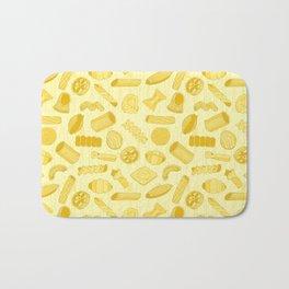 Italian Restaurant Pasta Shapes Food Pattern in Cream Bath Mat